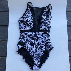 Black and white floral mesh one piece size small